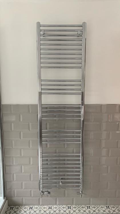Luxury chrome towel radiator installed.